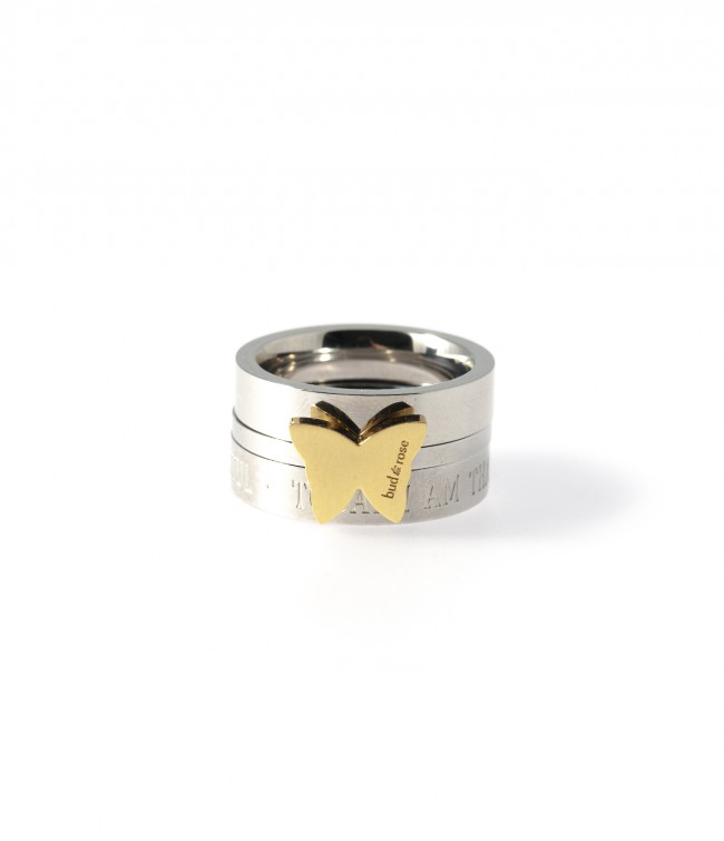 Bud to rose butterfly ring